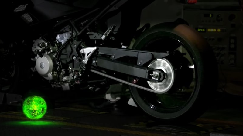 Kawasaki is testing a hybrid motorcycle with a six-speed manual transmission